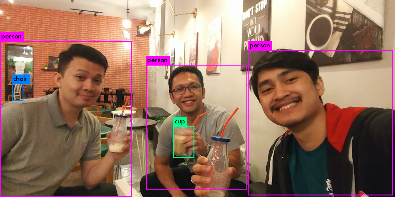 We have been doing R&D using AI to recognise objects in images. Here is a fun example of using Yolo on a picture of some of our team,  Dimas, Boney, Rohmat, hanging out at a juice bar in in Surabaya, East Java Island, Indonesia.